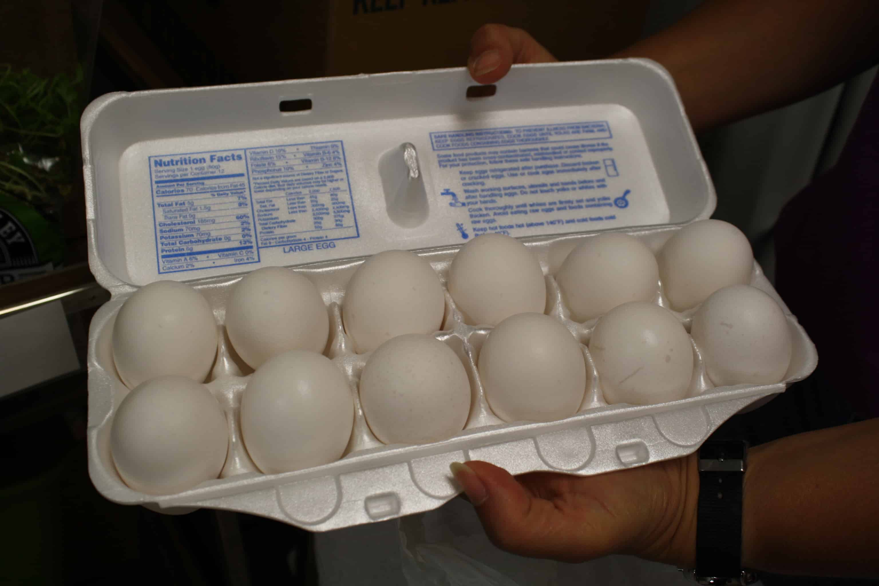 You will receive a dozen eggs, margarine and cheese each time you visit the pantry.
