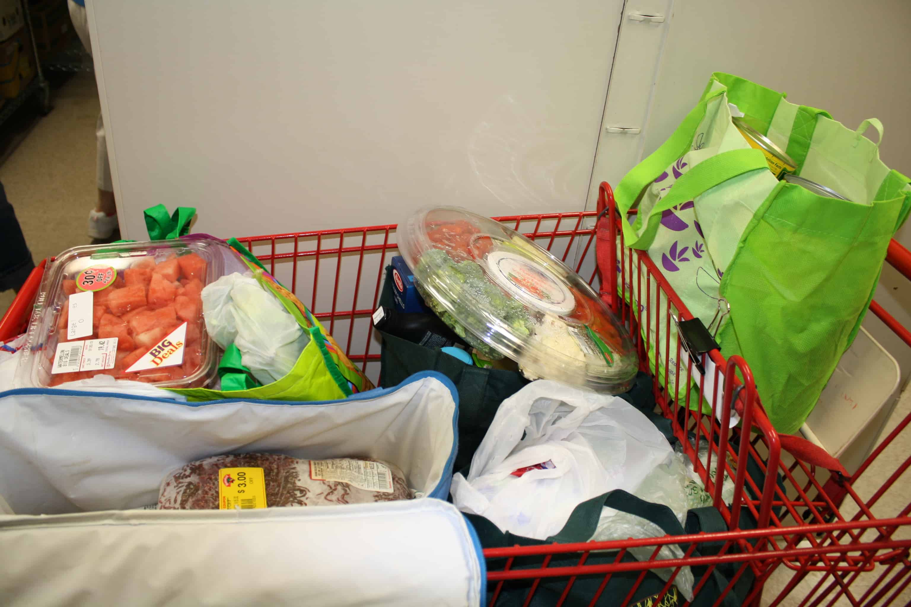 Carriage full of groceries