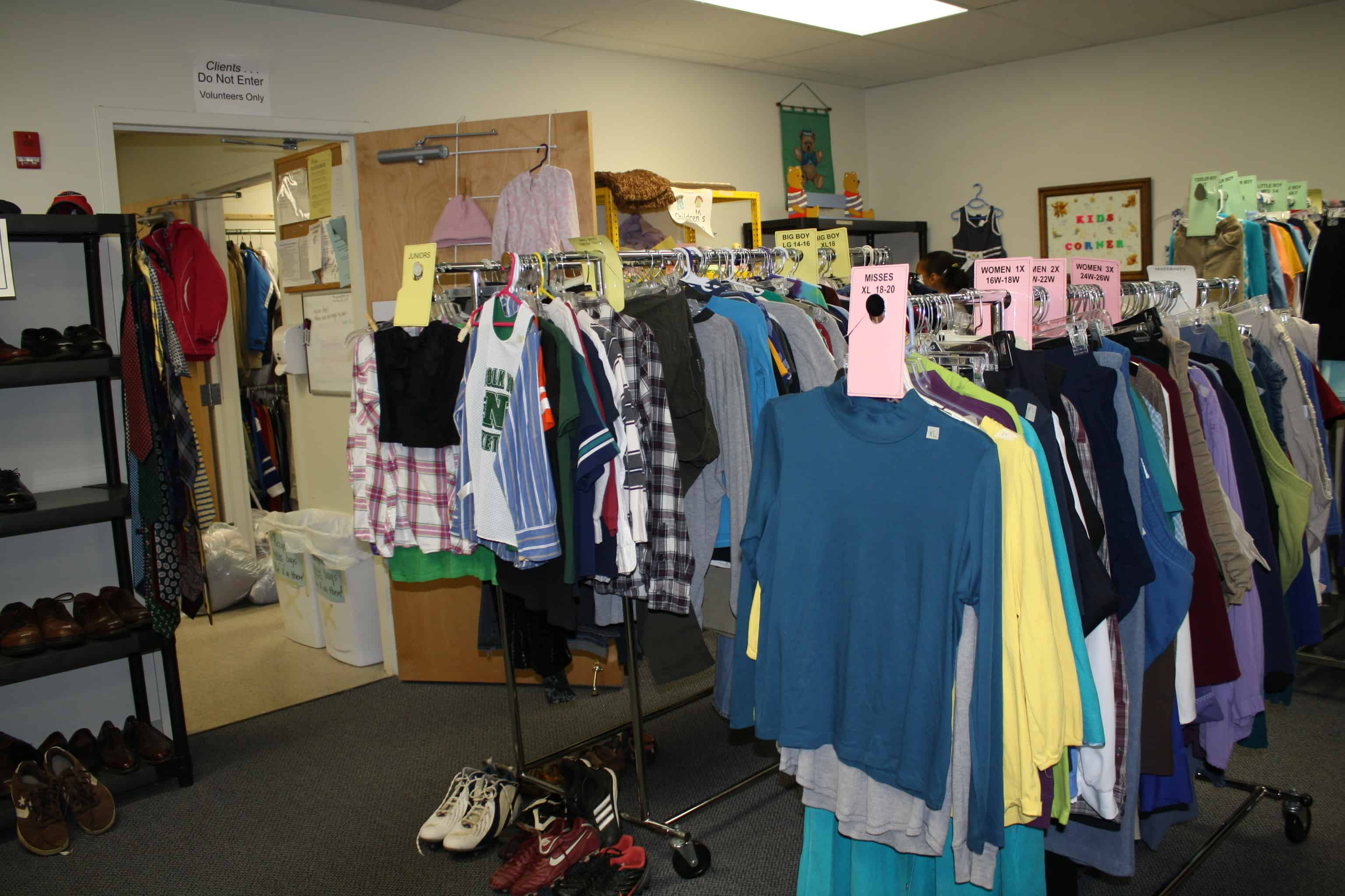 Sign up to visit our Clothing Room.