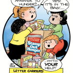 Cartoon image inviting you to give to the 2017 postal workers food drive