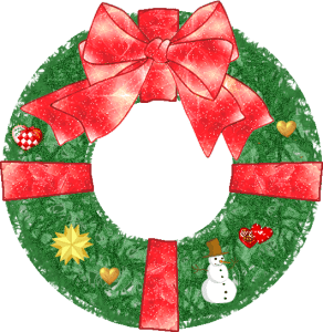 Image of Christmas wreath drawing.